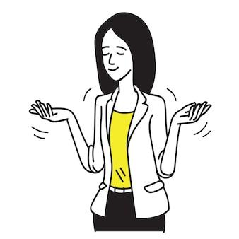 Encolher os ombros a mulher de negócios