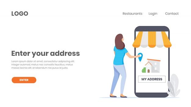 Encomenda de comida online, adicione a localização