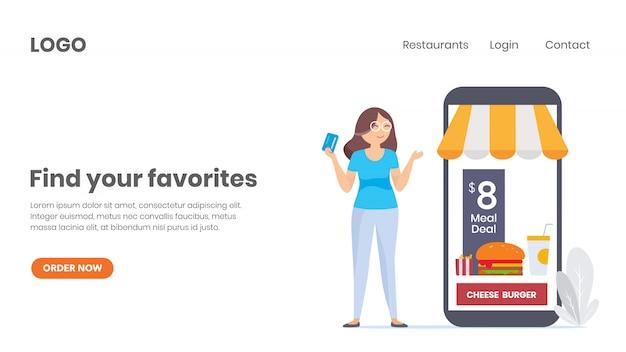 Encomenda de comida online, compre online