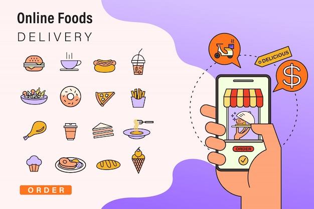 Encomendar alimentos on-line do aplicativo por telefone inteligente