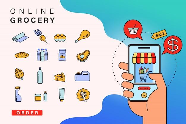 Encomendar compras on-line do aplicativo por telefone inteligente