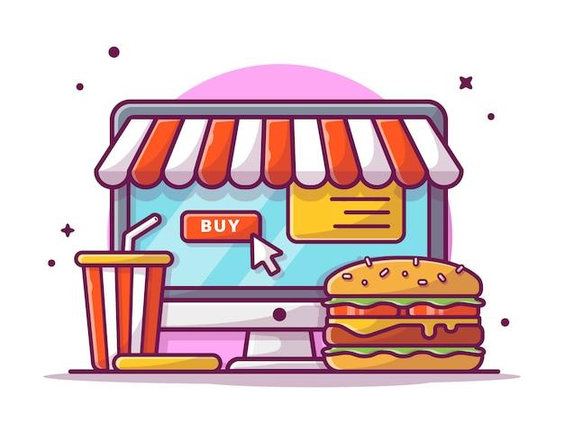 Encomendar fast food online com hambúrguer, batatas fritas e refrigerante, ilustração branca isolada