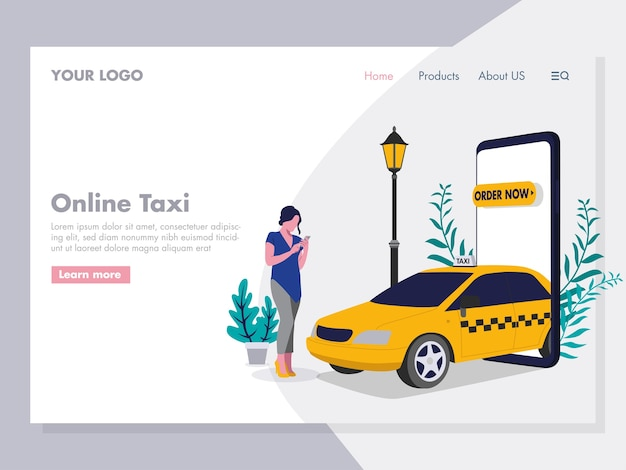 Encomendar ilustração de táxi on-line para a página de destino Vetor Premium