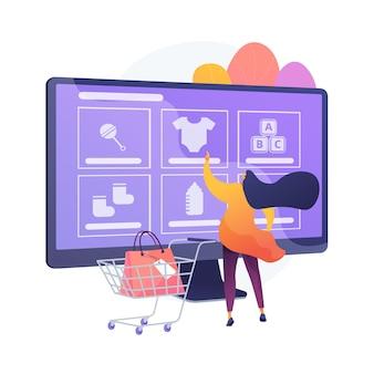 Encomendar produtos online. loja na internet, compras online, site de comércio eletrônico de nicho. mãe comprando roupas, calçados e brinquedos para bebês, acessórios infantis. ilustração vetorial de metáfora de conceito isolado