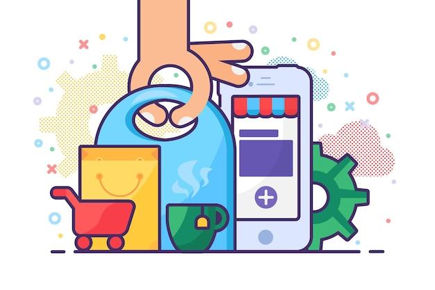 Encomende produtos on-line por meio do vetor de aplicativo do telefone