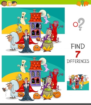 Encontrando diferenças jogo educativo com personagens do dia das bruxas