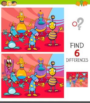Encontrando jogo de diferenças com criaturas de fantasia
