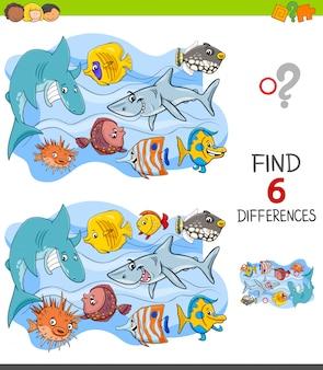 Encontrando jogo de diferenças com personagens de peixe felizes