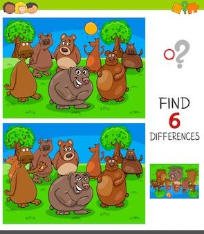 Encontrando jogo de diferenças com personagens de ursos