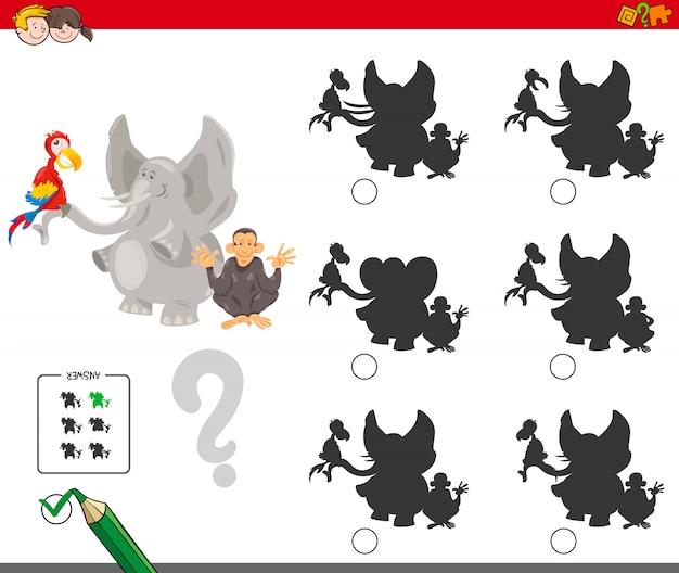 Encontrando o jogo educacional da sombra para crianças
