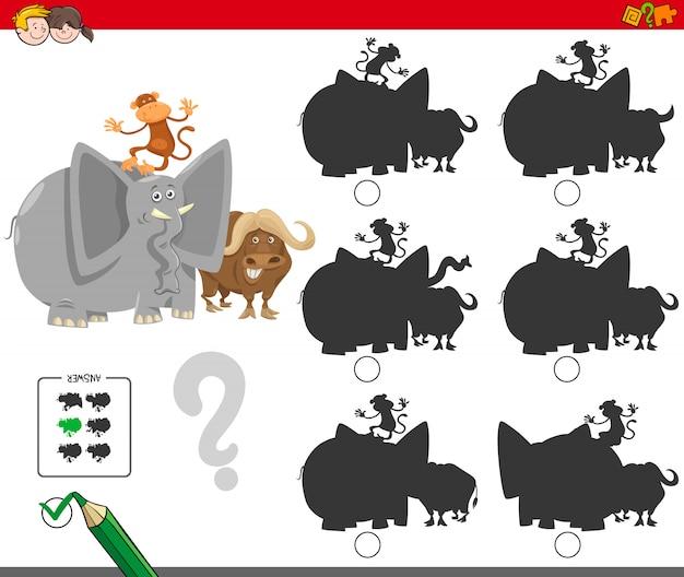 Encontrando o jogo educacional de sombra para crianças