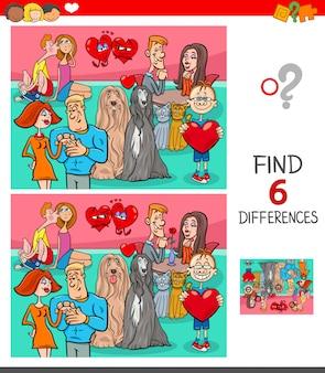 Encontrando seis diferenças entre o jogo educacional das imagens