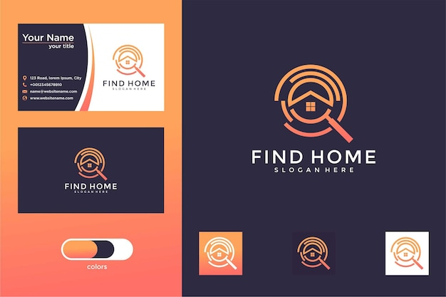 Encontrar casa elegante design de logotipo e cartão de visita