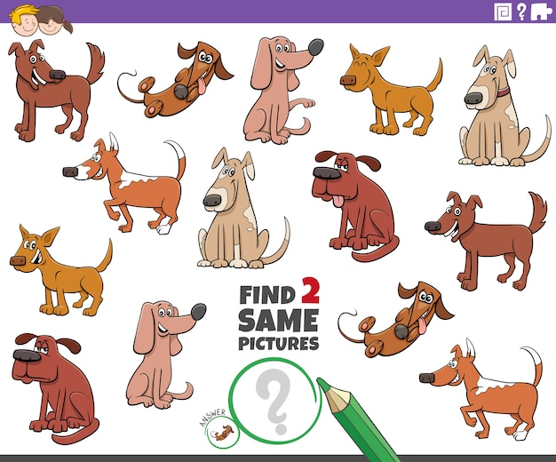 Encontrar dois mesmos cães - tarefa educacional para crianças