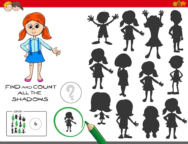 Encontrar e contar o jogo educacional de sombras