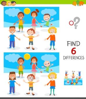 Encontrar jogo de diferenças com crianças felizes