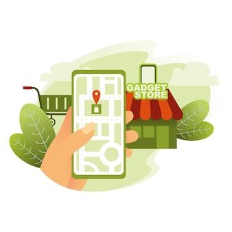 Encontrar loja de gadgets com mapas na ilustração de smarthpone