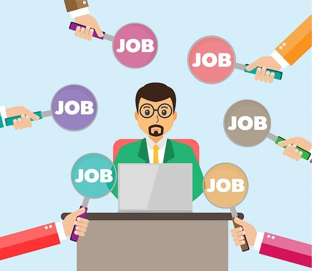Encontrar pessoa para oportunidade de emprego, design de vetor de empresário
