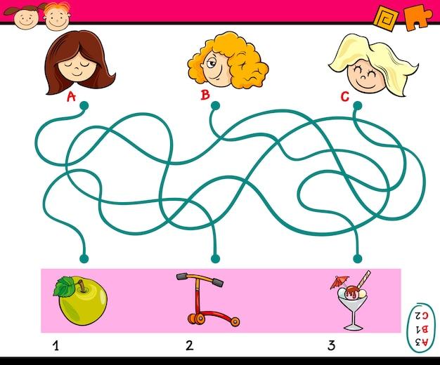 Encontrar tarefa de caminho para crianças