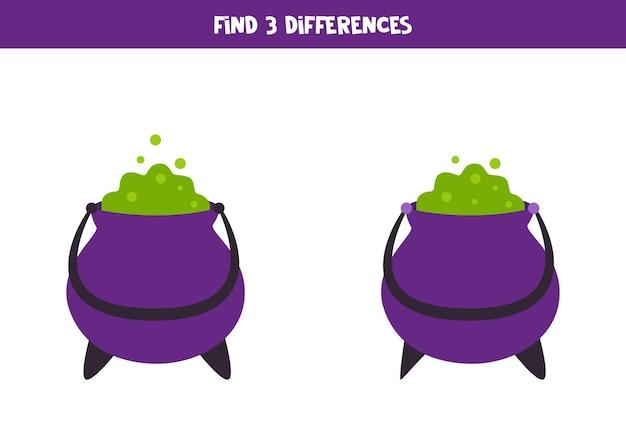 Encontre 3 diferenças entre dois caldeirões de halloween dos desenhos animados.