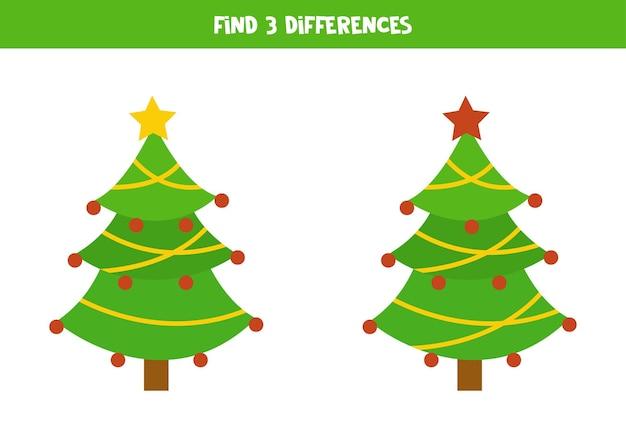 Encontre 3 diferenças entre duas lindas árvores de natal.