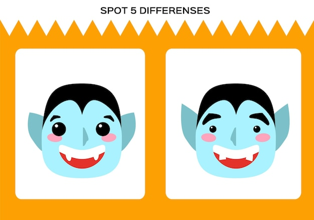 Encontre 5 diferenças. feliz jogo de halloween. dracula vampire education game for children. planilha para crianças. vetor.