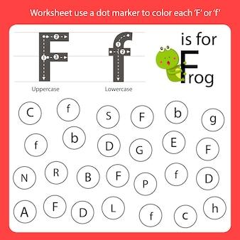 Encontre a carta worksheet use um marcador de pontos para colorir cada f