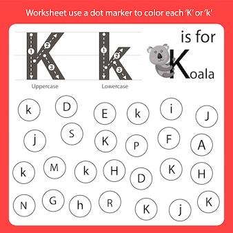 Encontre a carta worksheet use um marcador de pontos para colorir cada k
