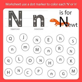 Encontre a carta worksheet use um marcador de pontos para colorir cada n