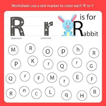 Encontre a carta worksheet use um marcador de pontos para colorir cada r