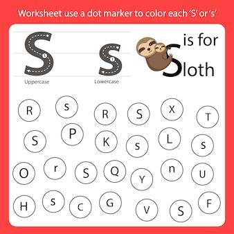 Encontre a carta worksheet use um marcador de pontos para colorir cada s