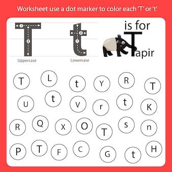 Encontre a carta worksheet use um marcador de pontos para colorir cada t