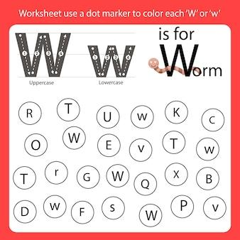 Encontre a carta worksheet use um marcador de pontos para colorir cada w