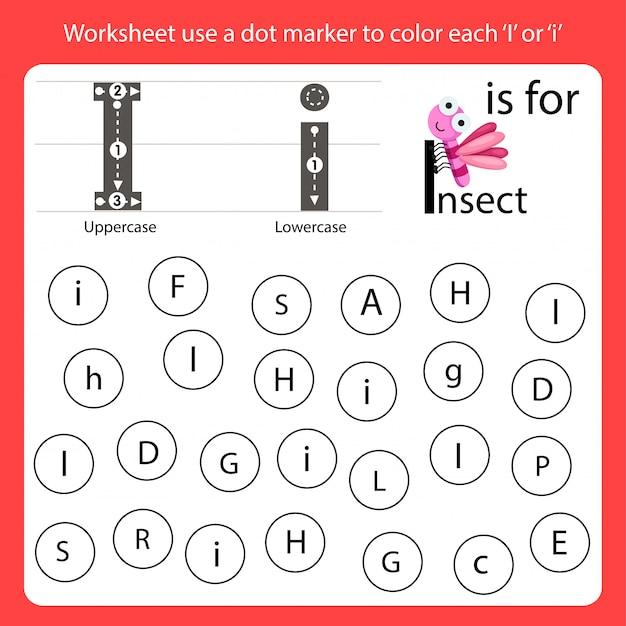 Encontre a carta worksheet use um marcador de pontos para colorir cada