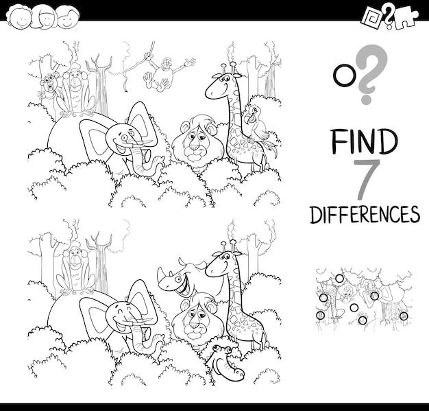 Encontre a diferença com os animais para colorir livro