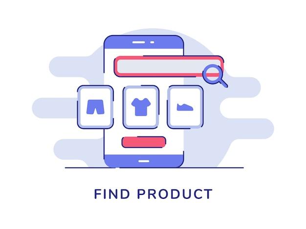 Encontre a lente de aumento do conceito de produto vestida na tela do smartphone com fundo branco isolado