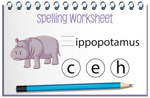 Encontre a letra perdida com hipopótamo