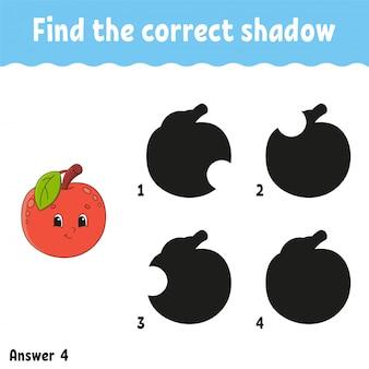 Encontre a maçã das sombras correta. planilha de desenvolvimento de educação.