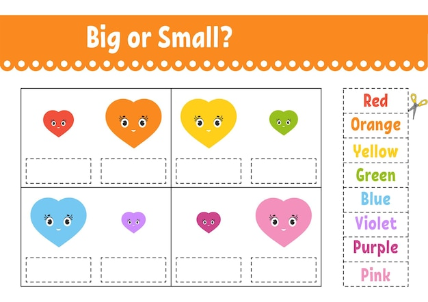 Encontre a resposta correta. corte e cole. planilha de desenvolvimento de educação. página de atividades. grande ou pequeno. personagem de desenho animado.