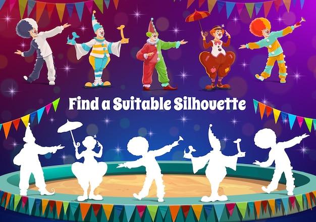 Encontre a silhueta do palhaço de circo, jogo de charadas para crianças