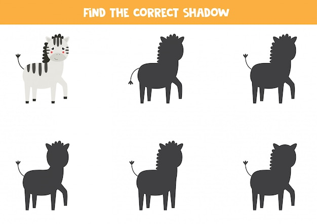 Encontre a sombra certa da zebra dos desenhos animados. jogo lógico para crianças.
