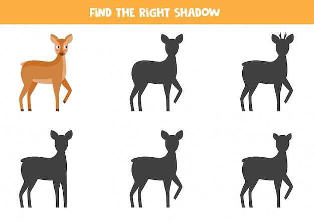 Encontre a sombra certa de corça. jogo lógico para crianças.