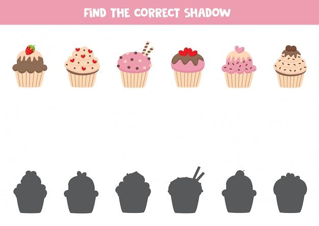 Encontre a sombra certa de cupcakes adoráveis de desenhos animados.