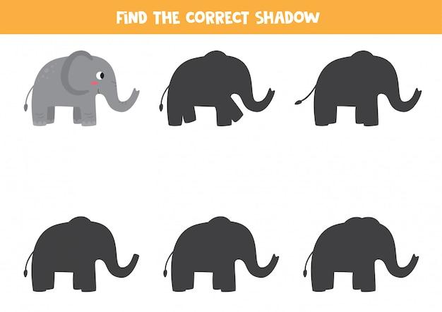 Encontre a sombra certa do elefante dos desenhos animados. planilha para impressão.