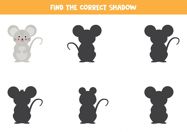 Encontre a sombra certa do mouse. jogo educativo para crianças.