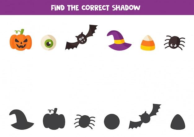Encontre a sombra certa dos elementos do halloween. jogo para crianças.