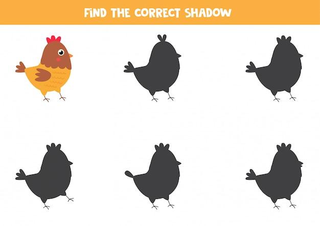 Encontre a sombra correta da galinha bonito dos desenhos animados.