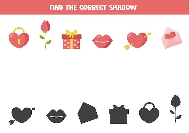 Encontre a sombra correta de elementos românticos. planilha lógica.