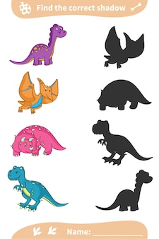 Encontre a sombra correta. dinossauros coloridos bonitos. planilha pré-escolar.