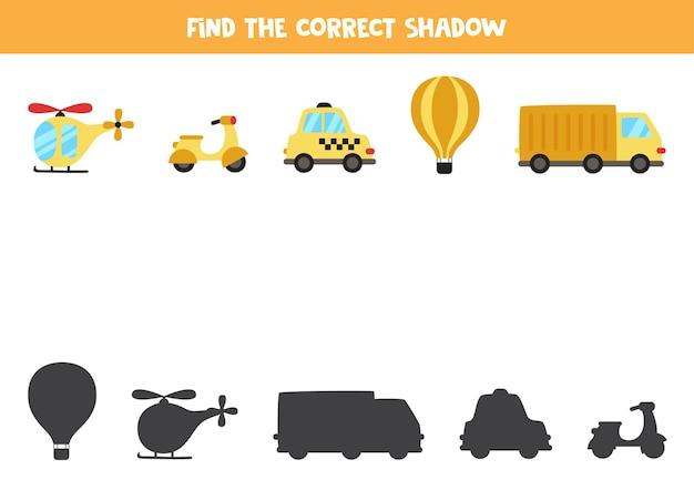 Encontre a sombra correta do meio de transporte. jogo lógico educativo para crianças.